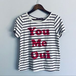 "Sunset & Rose ""You Me Oui"" Striped T-Shirt"